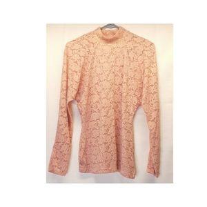 Casual Corner vintage peach lace longsleeve blouse